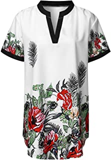 cutemom Women's T-shirt Women Casual Fashion V-Neck Plant printing Short Sleeve Tops Blouse Sexy Elegant Vintage Top Shirt Fit Comfy Tunic