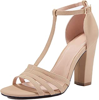 Women's Ankle Strap Chunky High Heels Open Toe Pump Heeled Sandals Shoes