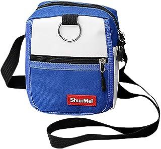 Wultia - Women's Men's Canvas Bag Hong Kong Harajuku Style Contrast Color Small Bag Korean Style Fashionable Casual Messenger Bag #T08 Blue