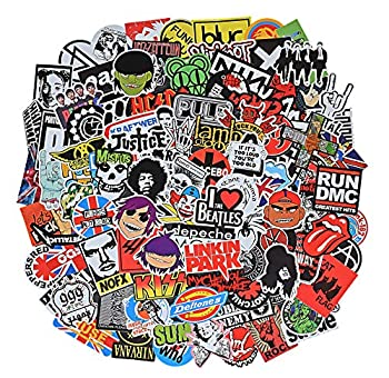 Band Stickers Pack Rock Roll Stickers -100 Pcs Vinyl Waterproof Stickers for Personalize Laptop Electronic Organ Guitar Piano Skateboard Luggage Graffiti Decals  Stickers - B