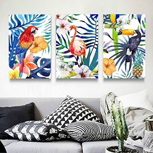 tzxdbh Moderne Kleurrijke Bladeren Bloemen Flamingo Papegaai Canvas Schilderijen Poster Print Muur Kunst Foto's Voor Woonkamer Decor-in Schilderij & Kalligrafie van 30x40 cm No Framex3