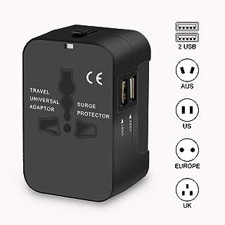 変換プラグ 海外旅行用品 海外旅行用コンセント 安全旅行充電器 ACアダプタ 急速充電対応 2個USBポート (ブラック)