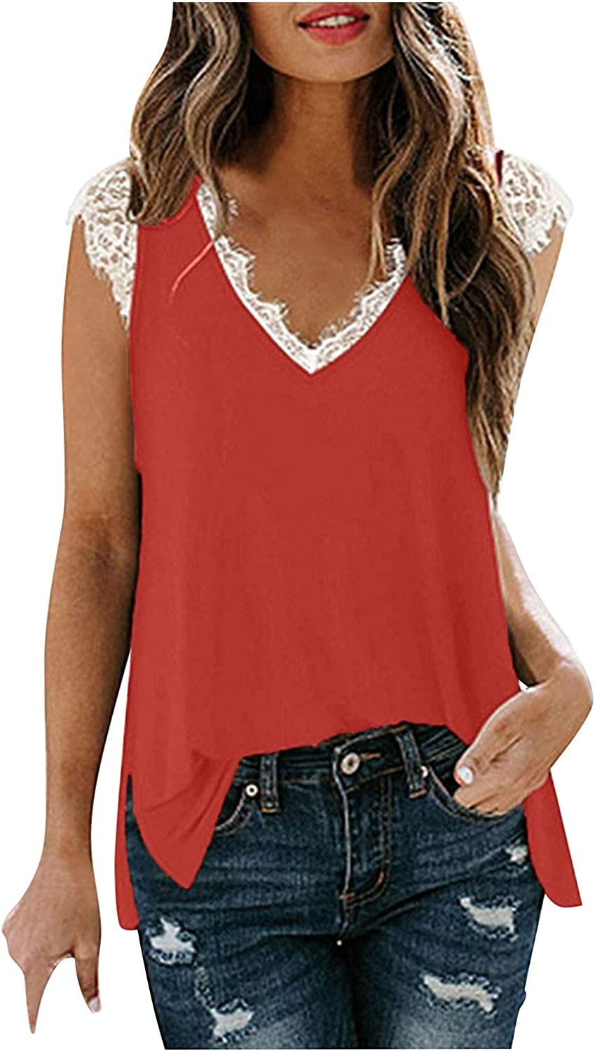 Womens Tank Tops Loose Fit Plus Size,Women Lace Trim Tank Tops Casual Summer Elegant Sleeveless Blouses