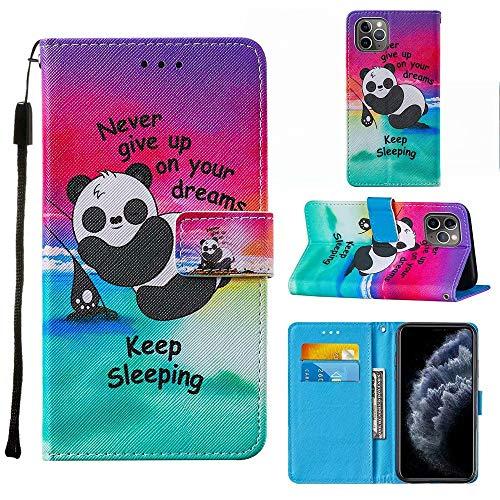 """Miagon Lanyard Brieftasche Etui für iPhone 11 6.1"""",Niedlich Lustig Panda Entwurf Pu Leder Magnetverschluss Weich Innere Buchstil Schutzhülle Klapphülle mit Standfunktion"""