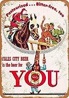 Falls City Beer and Horse Racing ティンサイン ポスター ン サイン プレート ブリキ看板 ホーム バーために