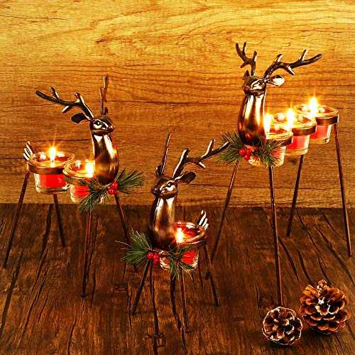 Lulu Home Set of 3 Metal Reindeer Tea Light Candle Holders, Christmas Candle Holders with 3 Sizes - 11.8' H, 10' H, 8.5' H, Christmas Reindeer Table Decoration for Holiday, Wedding, Housewarming
