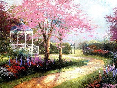 DIY Ölgemälde Malen nach Zahlen Erwachsene Kinder, Fantasy Pink Kirschblüte Baum Trail Zahlenmalerei ab 5 Öl Wandkunst (Pink, ohne Rahmen)