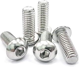Eastlo Fastener 3/8-16 x 1' Button Head Socket Cap Screw, 304 Stainless Steel, Internal hex Drive, Fully Threaded 3/8-16 x 1'