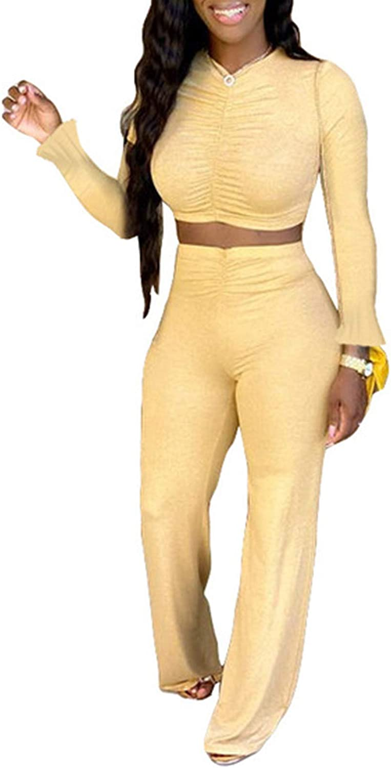 watersouprty Two Piece Outfits for Women Long Sleeve Vest Wide Leg Pants Casual Suit