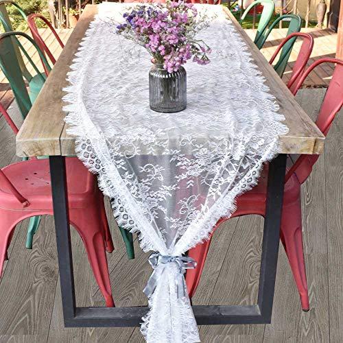 Awtlife Tischläufer, Spitze, 70 x 300 cm, Weiß