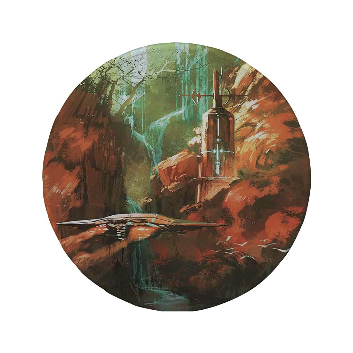 Non-Slip Rubber Round Mouse Pad,Fantasy World,Spaceship on Background of Waterfall Lighthouse and Red Canyon Fantasy Landscape,Brown,7.87