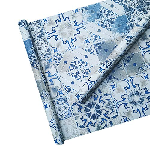 TaoGift azulejo de mármol Azul Autoadhesivo de Vinilo para estantes de Cocina, armarios, encimera, Mesa, Muebles, decoración de Pared, 45 cm x 3 m