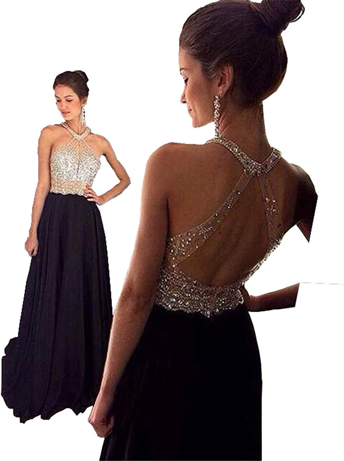 Changjie Women's Halter Backless Beading Black Formal Evening Party Prom Dresses