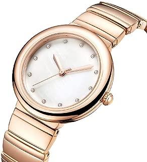 Waterproof Watch Rose Gold Women's Girl Lady Simple Diamond Ultra-Thin 8mm Quartz Watch 35mm Firm Steel Belt Casual Fashion Raincoat 3ATM Students 3ATM