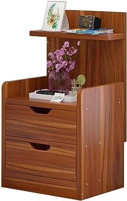 Global-DIY Mesita de noche con paneles de madera y almacenamiento ...
