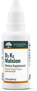 Genestra Brands - D3 K2 Mulsion - Vitamin D and K2 Combination - Citrus Flavor - 0.7 fl oz (20 ml)