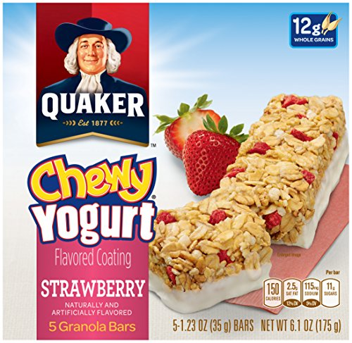 Quaker Yogurt Chewy Granola Bar, Strawberry, 5 Bars , net weight 6.1 ounce (Pack of 6)