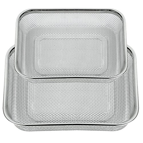Space Home - Colador de Cocina Rectangular- Escurridor - Malla Fina - Acero Inoxidable - Set de 2