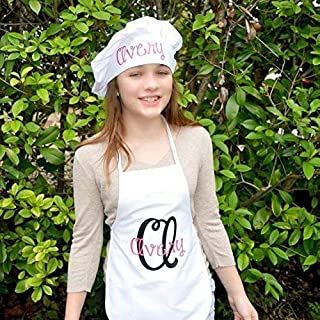 Personalized Chef's Baking Hat and Apron Set With Name in Your Choice of Colors, Great Custom Christmas Birthday Gift for Child, Artist Smock, Kitchen Accessories Toddler Kids Teenager Adult