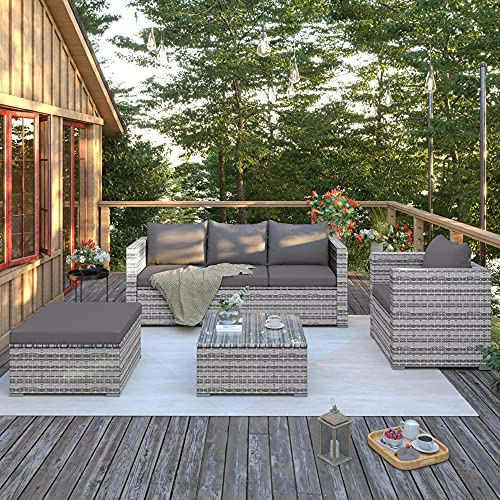 Gona Juego de muebles de jardín de ratán, para exteriores, para 5 personas, muebles de jardín, juego con mesa, cojines de sofá lavables (gris)