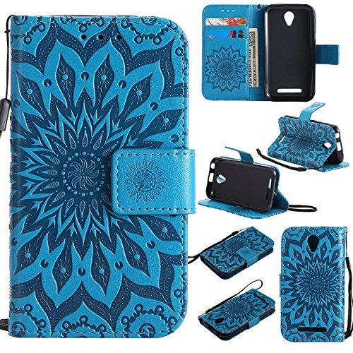 Guran PU Leder Tasche Etui für ZTE Blade L110 (A110) Smartphone Flip Cover Stand Hülle & Karte Slot Hülle-blau