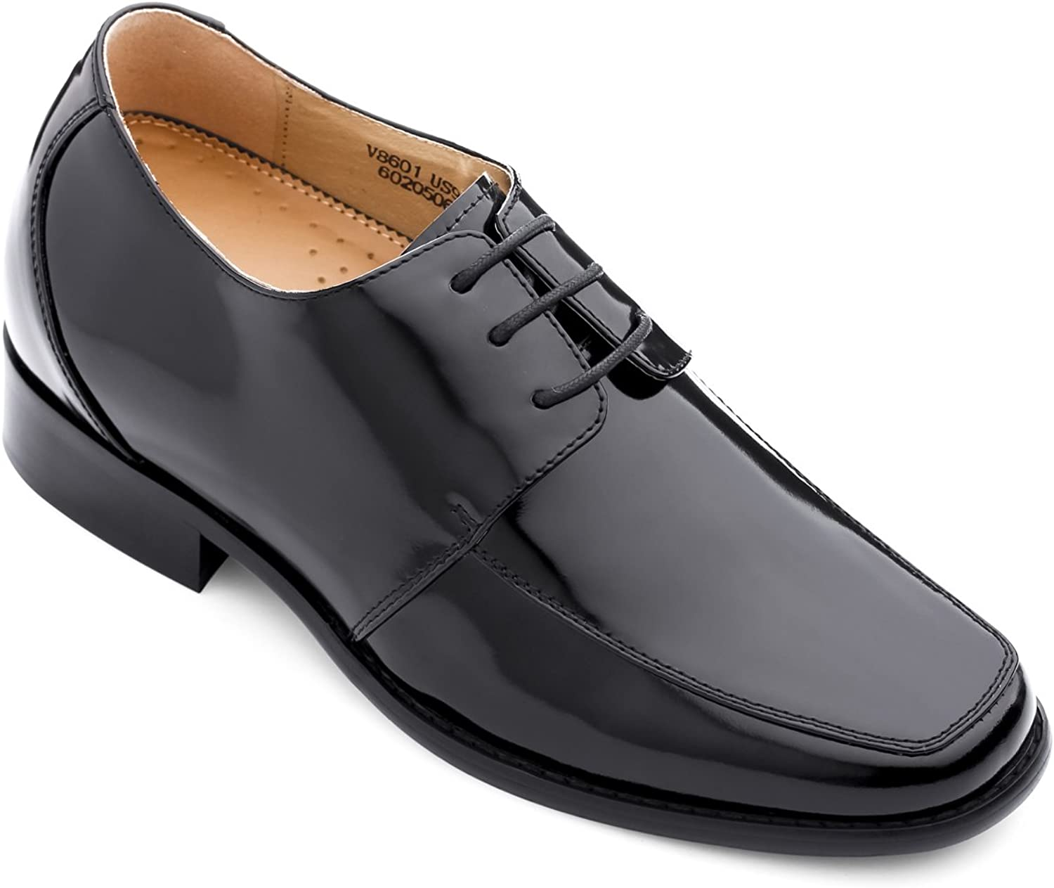 TOTO - V8601 - 2.8 Inches Taller - Height Increasing Elevator shoes - Black Leather Semi-square Toe Dress shoes