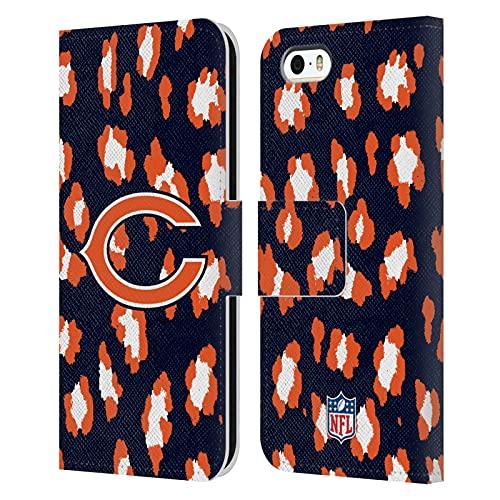 Head Case Designs Licenza Ufficiale NFL Leopardo Stampa Animale Chicago Bears Art Cover in Pelle a Portagoglio Compatibile con Apple iPhone 5 / iPhone 5s / iPhone SE 2016