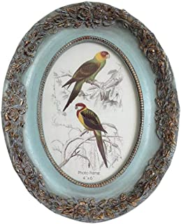 SIKOO Vintage Picture Frame 4x6 Oval Antique Table Top Wall Mounting Photo Frame for Home Decor, Green (Flower)