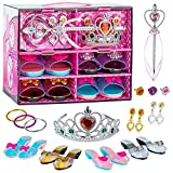 Toyvelt Princess Dress Up Shoes and Jewelry Boutique - Pretend Play For Little Girls Set Incl 4 Pairs Princess Shoes And Lots of Accessories - Toddler Girl Toys For 3,4,5, Year Old and up