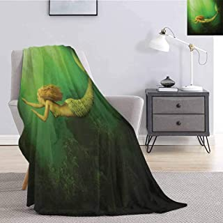 Luoiaax Mermaid Comfortable Large Blanket Mermaid with Fish Tail Swimming in The Deep Sea Fantasy World Artwork Microfiber Blanket Bed Sofa or Travel W54 x L72 Inch Green Dark Green Ginger