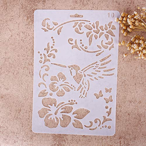 Plantillas con diferentes patrones ZHUOTOP para pintar con aerógrafo, para manualidades y decoración, 10, 01#