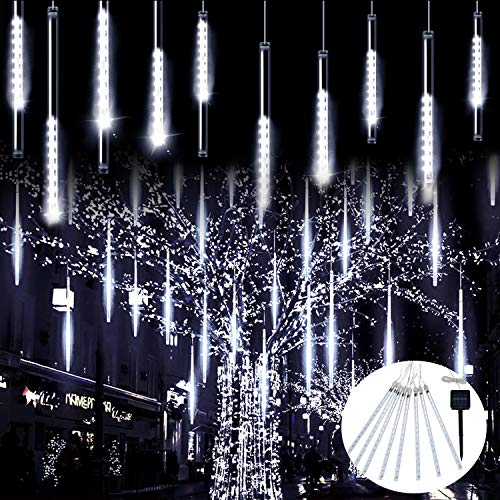 JMEXSUSS Christmas Lights Meteor Shower Rain Lights Solar Powered Meteor Shower Lights 30cm 8 Tube 144 LEDs, Meteor Lights Led Falling Rain Light for Xmas Tree Weeding Party(White)