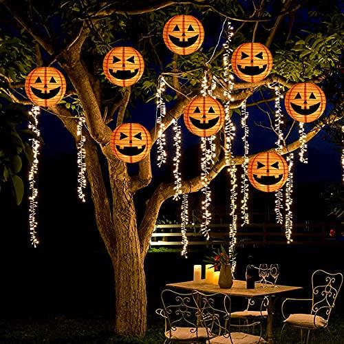 Bunny Chorus 7.9'' Large Pumpkins Paper Lantern String Lights with 48 LEDs,...