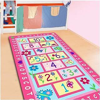 FADFAY Home Textile,Fashion Hopscotch Kids Carpet Bedroom,Sweet Pink Rug,Designer Figure Children's Rugs
