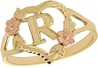 CaliRoseJewelry 10k Gold Initial Alphabet Personalized Heart Ring - Letter R