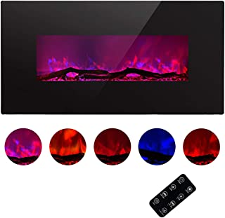 TAGI 42'' Glass Electric Fireplace Heater with 5 Changeable Flame Color, Wall Mounted or Free Standing