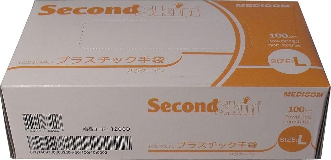 ばかげたジェスチャーなしでセコンドスキン プラスチック手袋 Lサイズ 100枚入