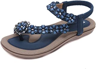 Super bang Women's Bohemian Flat Sandals Beach T-Strap Elastic Flip Flop Thong Shoes