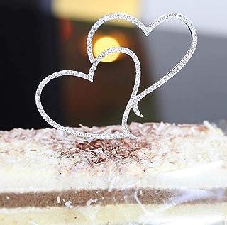 Dusenly Décoration de gâteau de mariage en forme de double cœur avec strass étincelants