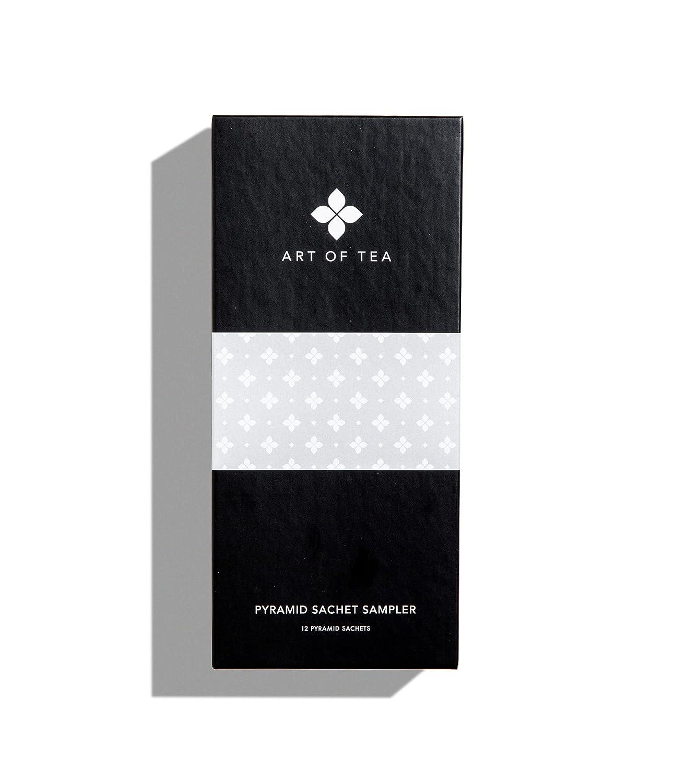 Art of Tea   Sampler Flavor Assortment - 12 Tea Bag Pyramid Sachets   Mixed Caffeinated and No Caffeine