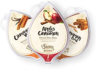 Natural Cinnamon Spice Soy Wax Melts Variety Pack - 3 Highly Scented 3 Oz. Bars - Apples & Cinnamon, Cinnamon Bark, Cinnamon Vanilla - Soy & Essential Oils, Phthalate & Paraffin Free, Vegan, Non-Toxic