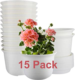15 Pack Planters, ZOUTOG 6 inch Plastic Plant Pots Indoor with Drainage Hole and Tray, Plants Not Included, Beige
