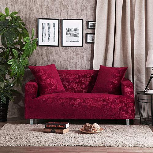 Grea Jacquard Dicke Sofabezüge Universal Stretch elastische Couch Hussen Überzug Plüsch warm 1/2/3/4 Sitz-Burgund, 3-Sitzer