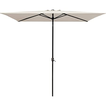 6.6 X 10 Ft, Orange RUBEDER Rectangular Patio Umbrella 6.6 by 10 Ft Outdoor Market Table Umbrellas with Push Button Tilt and Crank Lift,6 Sturdy Square Ribs