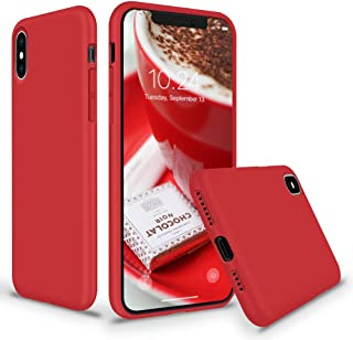 SURPHY Silicone Case for iPhone Xs Max, Liquid Silicone Shockproof Protective Case Cover (Full Body Thick Case with Microfiber Lining) Compatible with iPhone Xs Max 6.5,Red