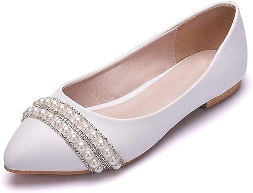 ZHRUI Bailarinas de satén con Cuentas de Poited Toe con Cuentas Ballet Planos (Farbe   Ivory-Flat, tamaño   6.5 UK)
