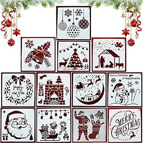 12 Piezas Plantillas de Navidad,Stencil Plantillas,Navidad Plantillas Dibujo Niños,Navidad Stencil,Plantillas...