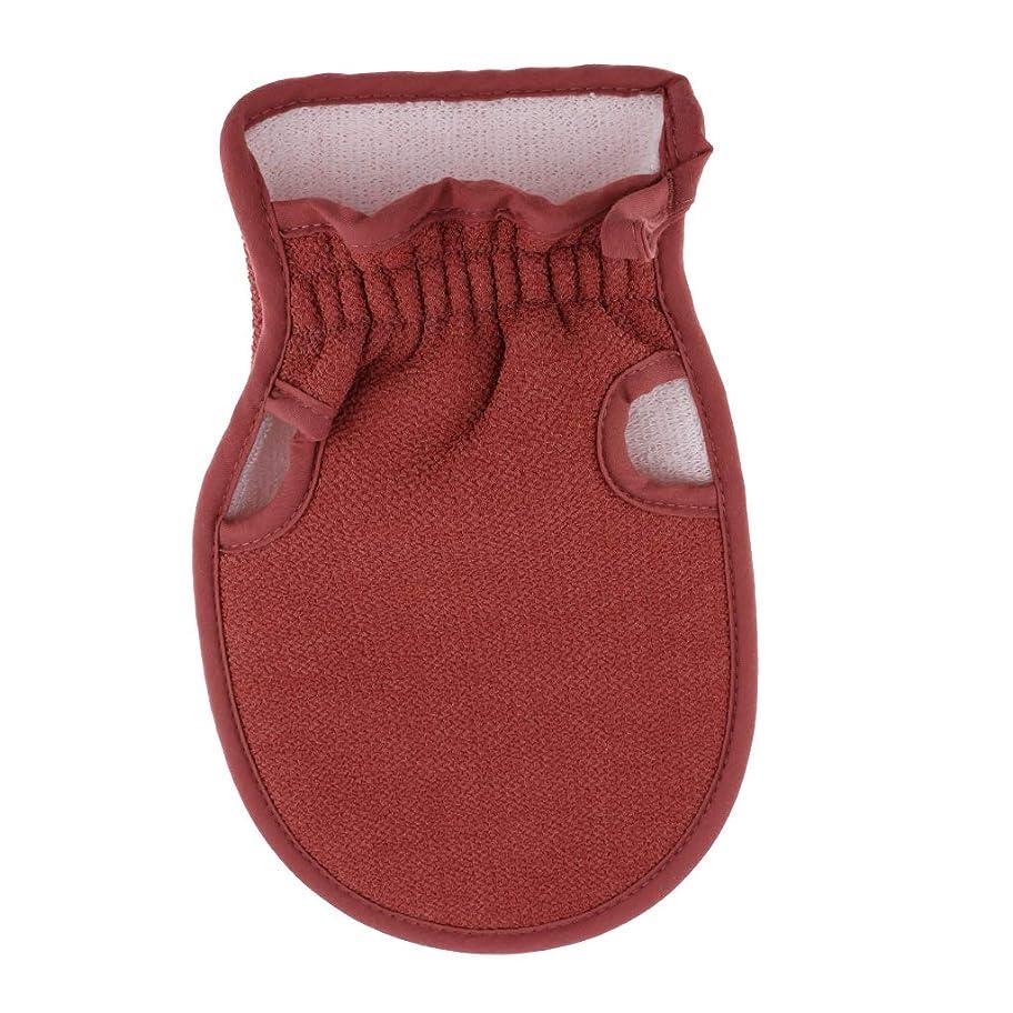マーカー処分した混雑Hellery 浴用手袋 ボディタオル 入浴用品 バス用品 垢すり手袋 毛穴清潔 角質除去 両面デザイン 全4色 - コーヒー