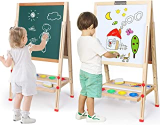 Kids Easel Double-Sided Magnetic Whiteboard & Chalkboard Multiple-Use Easel with Bonus Magnetics, Numbers, Paint Cups Best...