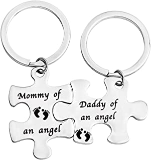 bobauna Miscarriage Gift Mommy/Daddy of an Angel Puzzle Keychain Set of 2 Baby Memorial Jewelry for Infant Loss